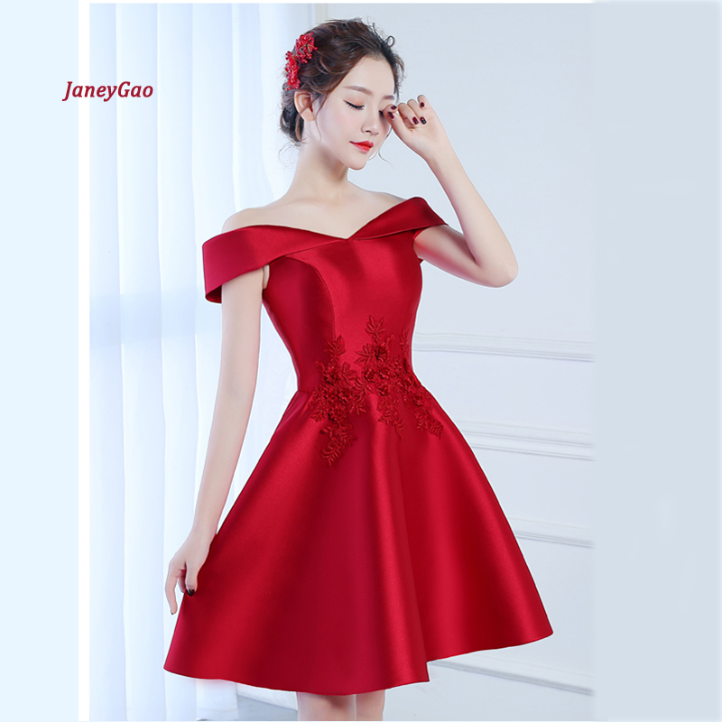 JaneyGao   Prom     Dresses   Short Style Red Color For Women Elegant Fromal Gown Evening Party   Dresses   Wine Red Silver-grey On Sale