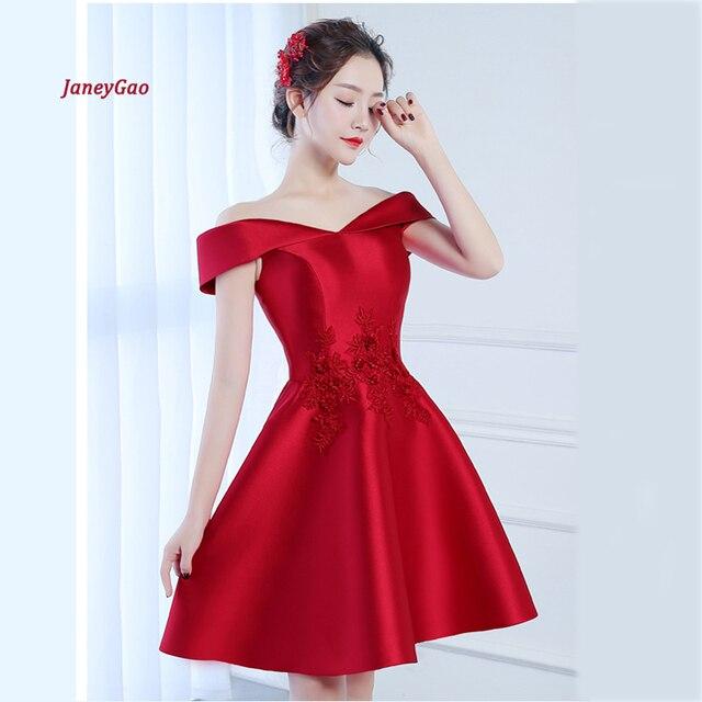 9adc169d56 JaneyGao vestidos de graduación de estilo corto Color rojo para mujeres  elegante vestido de noche Vestidos