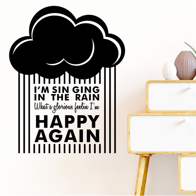 Inspiring Happy Again Quotes Wall Stickers Home Decor Living Room Vinyl Clouds Raining Wall Decals Diy Mural Art Black Wallpaper in Wall Stickers from Home Garden