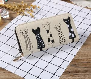 2018 Franbradis fashion standard wallet explosive cat cute cartoon embroidered line lady Long Wallet(China)