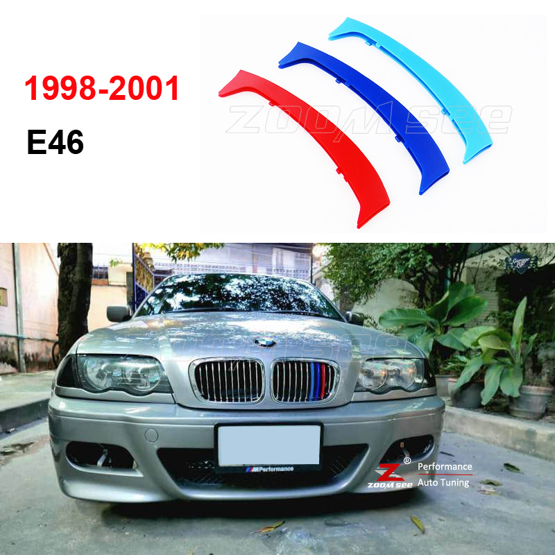For 1998-2001 BMW 3 series E46 316 318 320 325 330 4 door ONLY 3D M Styling Front Grille sport Trim Strips grill Cover Sticker bmw 318 в москве