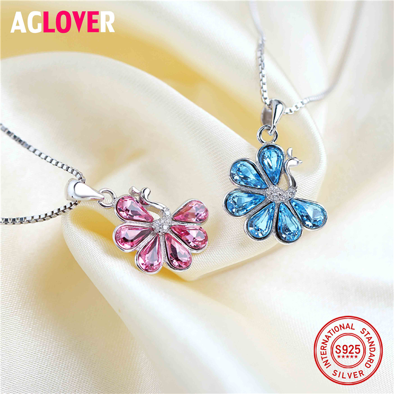 Austrian Crystal Peacock Pendant Necklaces For Women Charm 925 Sterling Silver Animal Theme Fashion Wedding Jewelry Necklace in Necklaces from Jewelry Accessories