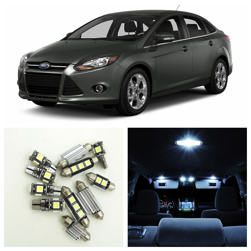 10Pcs White Car LED Light Bulbs Interior Package Kit For 2012 2013 2014 Ford Focus Map Dome Trunk License Plate lamp shanghai chun shu chunz chun leveled kp1000a 1600v convex plate scr thyristors package mail