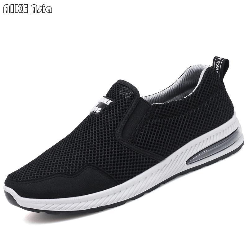 Smart Aike Asia Summer New Breathable Mesh Casual Shoes Mens Feet Increase Air Cushion Flat Shoes Mens Apartment Calzado Deportivo Men's Casual Shoes Men's Shoes
