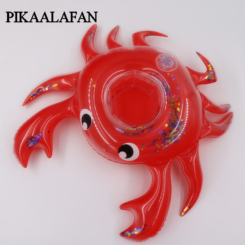 PIKAALAFAN  Ins Hot Selling Inflatable Sequins Crab Cup Mat Water Crab Cup Seat Floating Beverage Cup Holder  Beach Party