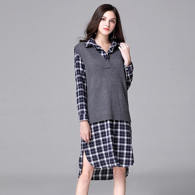 negozio online 1fb4e 10968 US $33.08 18% di SCONTO|2017 Pullover Maglione Plus Size Donne di Lavoro A  Maglia Autunno Inverno Moda Autunno Maglioni Oversize Del Capo Maglioni ...