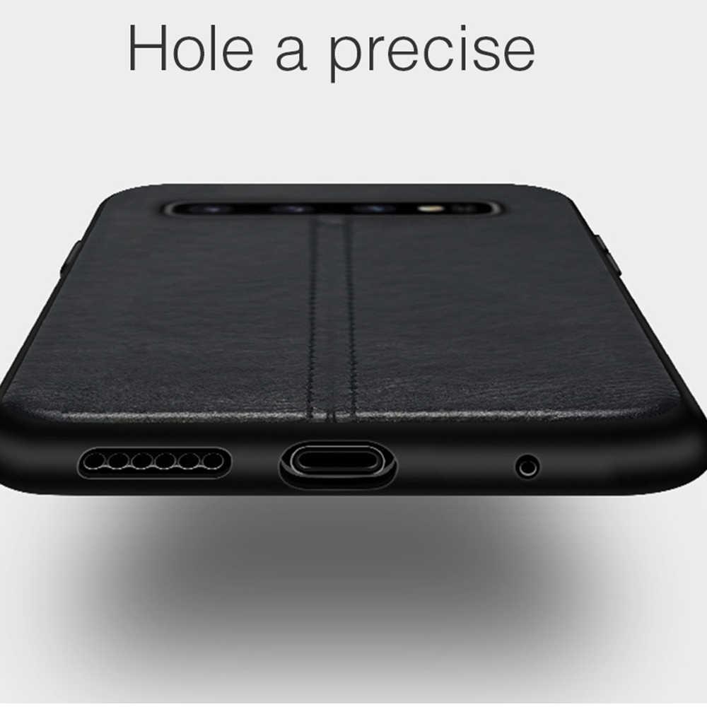 Eqvvol Mewah Case Kulit PU untuk Samsung Galaxy S10 S9 S8 Plus S10E Note 8 9 Kasus Shockproof Cover Solid warna TPU Case Fundas