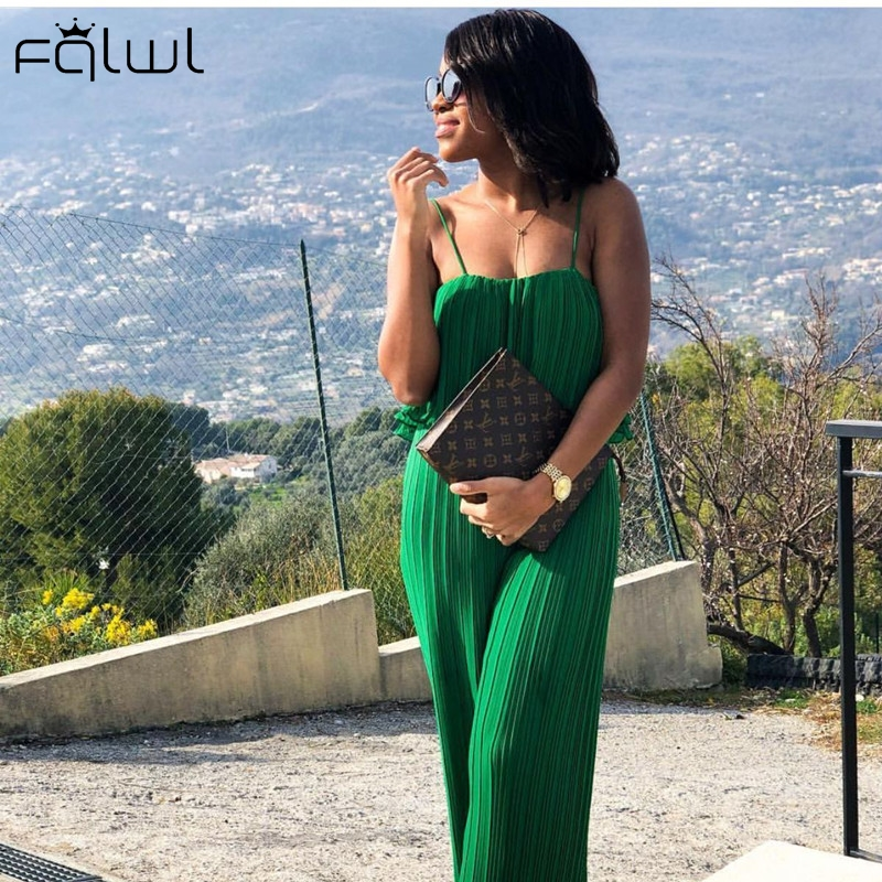 FQLWL Strapless Ruffles Sexy Summer   Jumpsuit   Women Overall Green Sleeveless Backless Loose Ladies Rompers Womens   Jumpsuit   Female