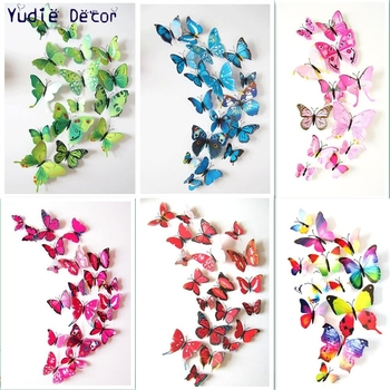 Hot sell cheap 12pcs 3D beautiful Chinese wind feature butterfly for DIY Marriage room parlour Bathroom glass wall decoration rysunek kolorowy motyle