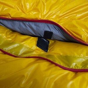 Image 5 - Ледяное пламя 20D Сверхлегкий Кемпинг Мумия 90% белый утиный пух спальный мешок 3 сезона Туризм 700FP YKK молния