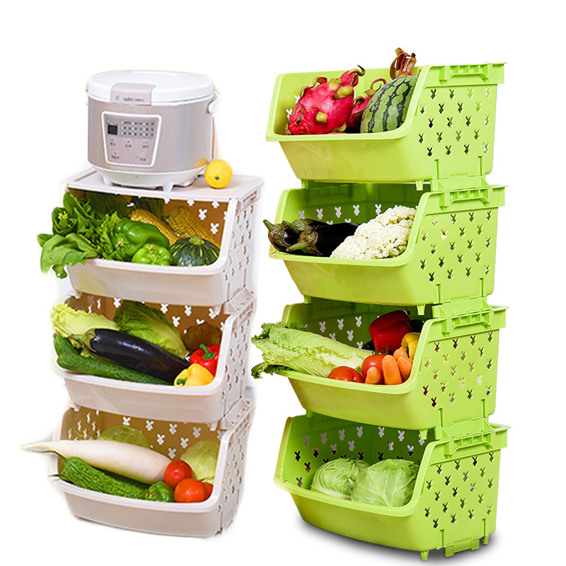 Plastic Kitchen Vegetable and Fruit Storage Basket Bathroom Storage Container Household Items Can Be Stacked Storage Basket plastic