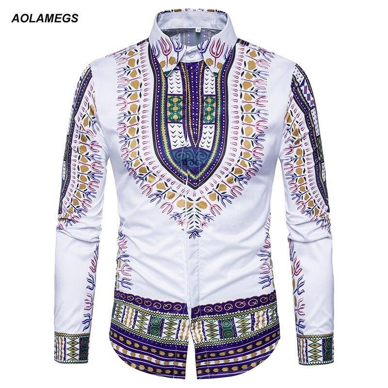 Aolamegs Shirts Men Nationality Print Male Shirts Turndown-Collar Shirt Long Sleeve Fashion Casual Style Couple Streetwear M-3XL