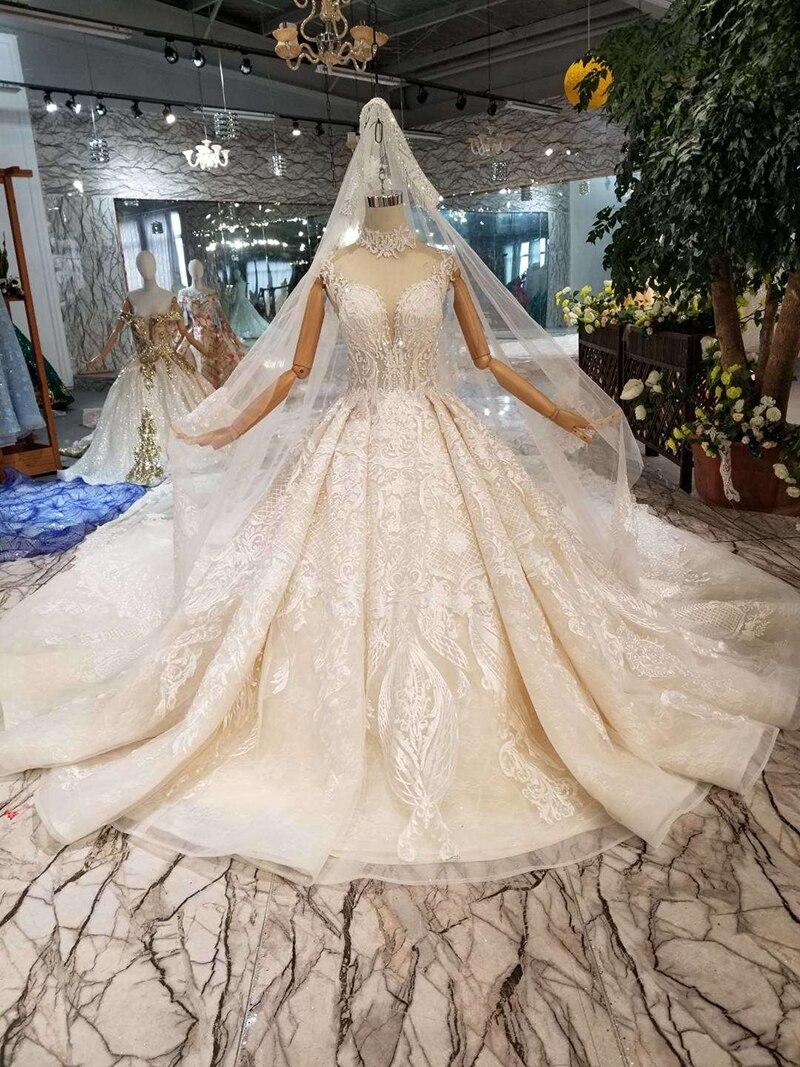 htl128 luxury material wedding dresses with wedding veil high neck cap  sleeve shiny handmade bride dress wedding gown fashion