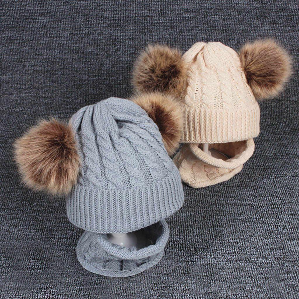 Baby Care สาวเสื้อผ้าชุด 2PCs Unisex เด็กทารกถักไหมพรมอุ่นฤดูหนาว Hiarball หมวก + ผ้าพันคอชุดอุปกรณ์เสริม