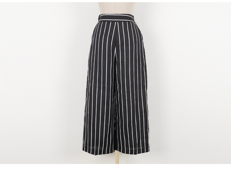 2018 Korean Summer Temperament Sleeveless Two Piece Set Stripe Fashion Wide Legging 2 Piece Set Women 13
