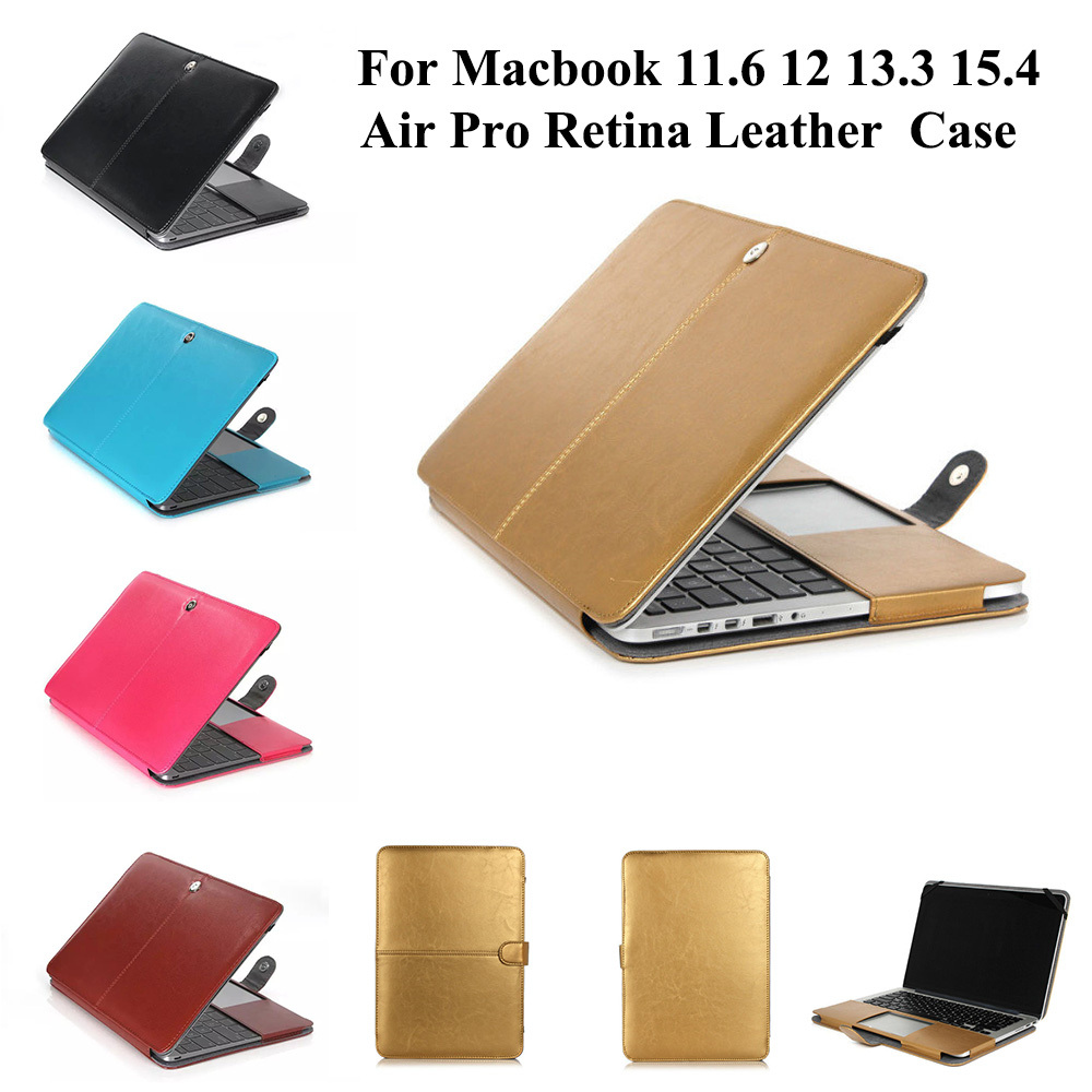Premium lederen slimme holster beschermhoes tas hoes voor MacBook Air - Notebook accessoires