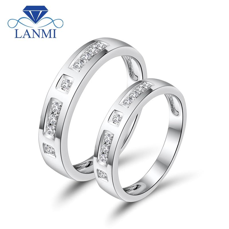 Romantischer Liebhaber Solide 18 Karat Weißgold Paar Ringe Natürliche Diamanten Für Verlobungsschmuck WU141