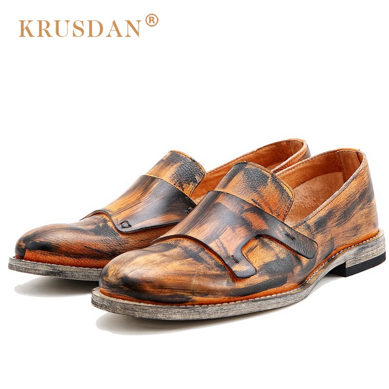 KRUSDAN Vintage Brush Off Man Casual Shoes Genuine Leather Male Handmade Loafers Round Toe Slip on Men's Comfortable Flats