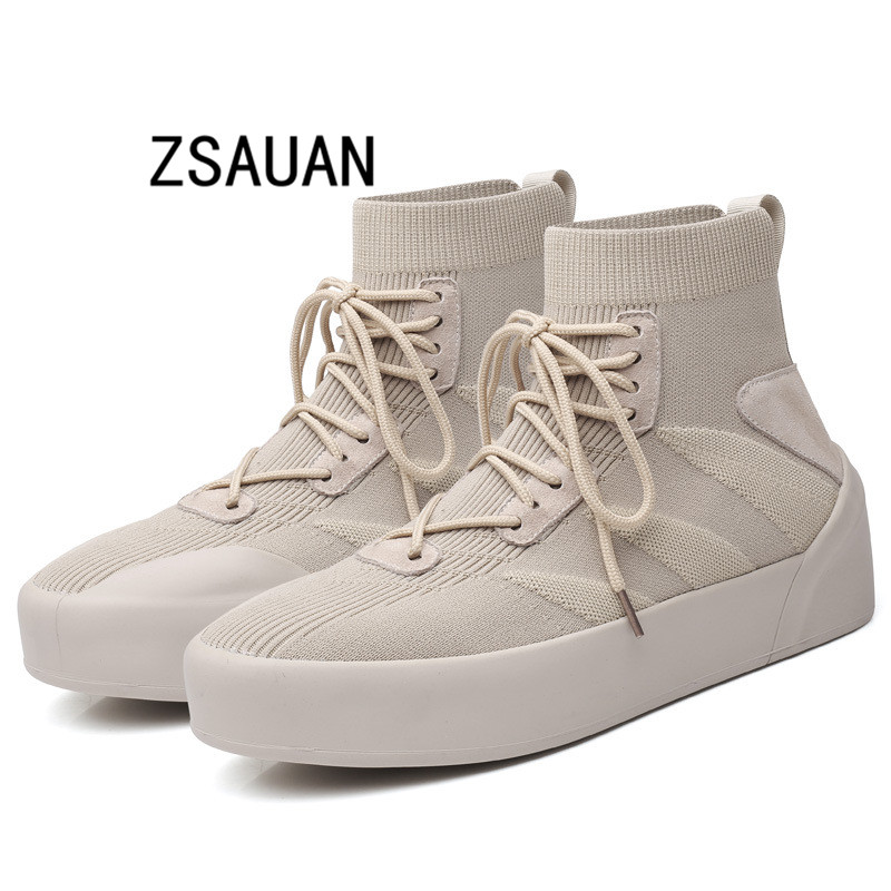 ZSAUAN Men High Top Casual Daily Sneakers Breathable Spring Winter Flat Height Increase Male Sock Shoes