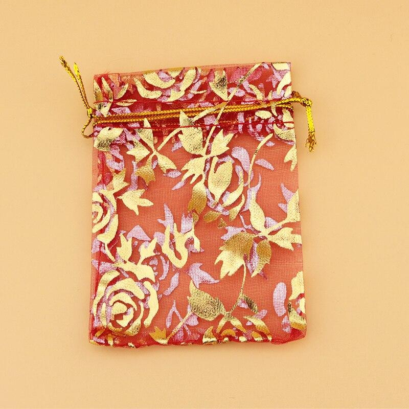 卸売500ピース高品質11 × 16センチゴールドローズ柄オーガンジーバッグレッドカラーウェディングギフトキャンディーバッグジュエリーパッケージポーチ  グループ上の ジュエリー & アクセサリー からの ジュエリー用包装 & ディスプレイ の中 3