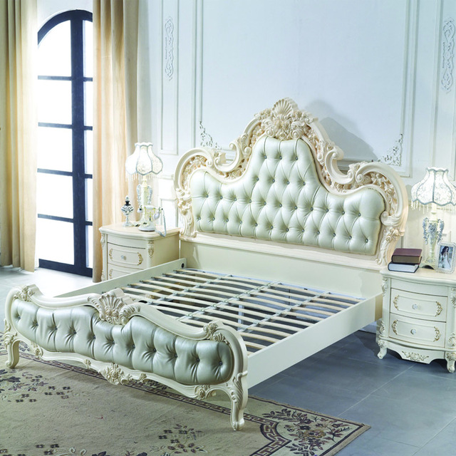 European Style Luxury Leather Bed 18m Double French King Size Wood Marriage Simple