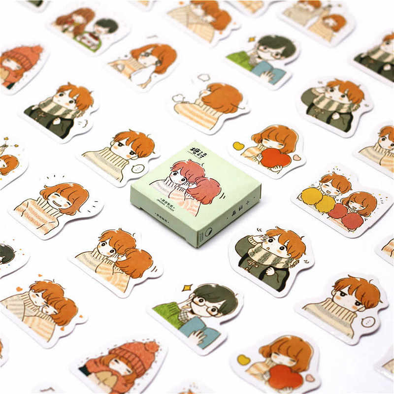 40 PCS Boy And Girl Couple Sticker People Decals Stickers Gifts for Children to Laptop Suitcase Guitar Fridge Bicycle Car