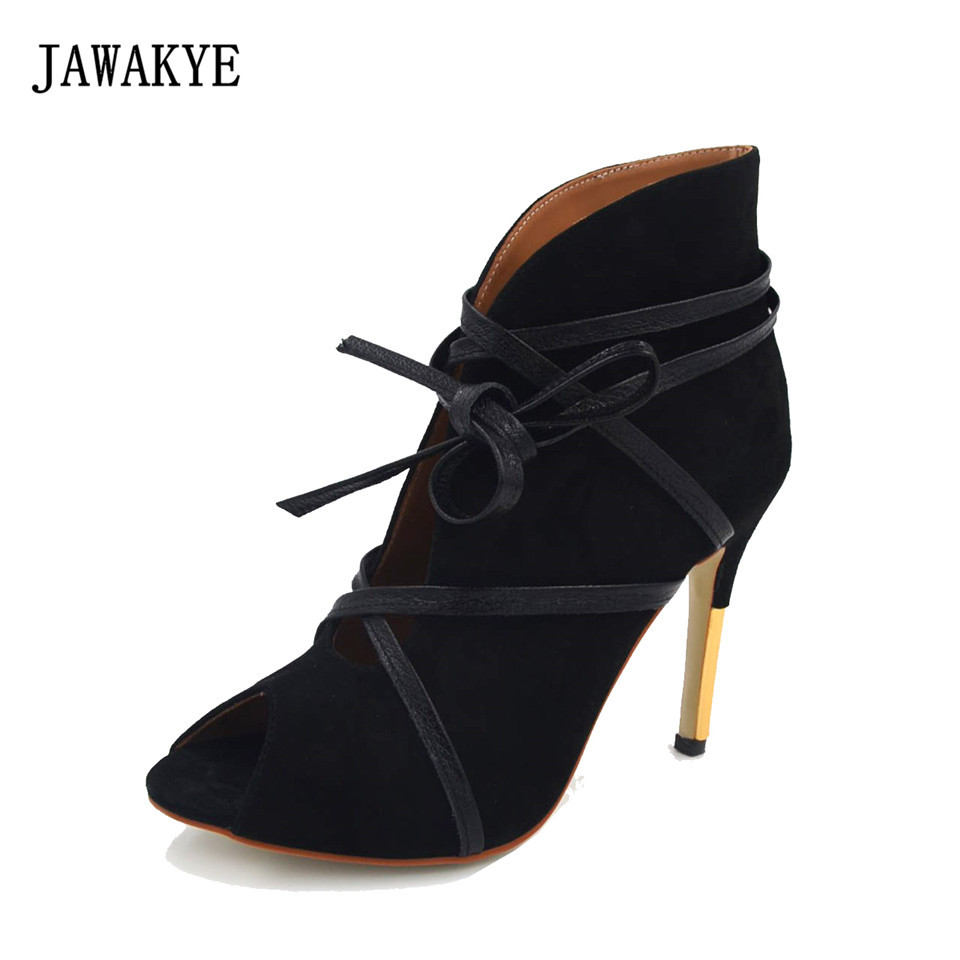 JAWAKYE New Sexy Open Toe Bandage Cross tied Lace Up Ankle Boots Women Black Suede Gold High Heels Sexy Women Shoes цена 2017