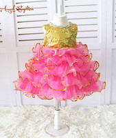 Glitter Gold Sequins Rose Pink Ruffles Kid Pageant Dress Glitz Easter Girl Outfit Toddler Special Event