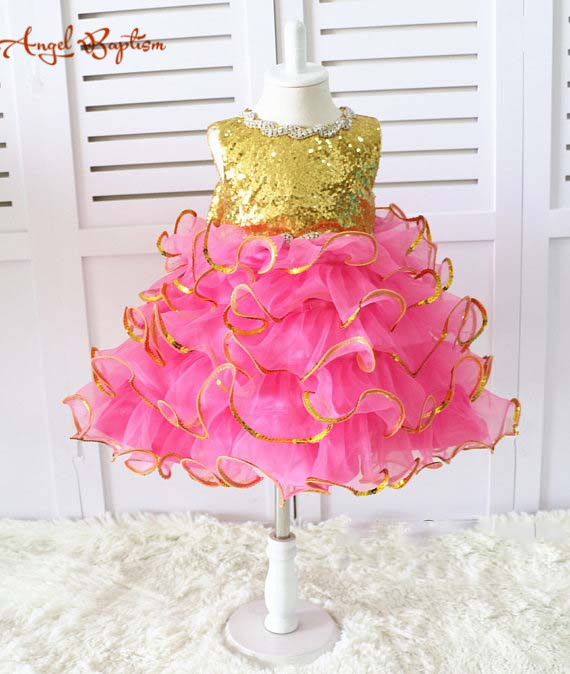Online Shop Glitter Gold sequins rose Pink ruffles kid Pageant Dress glitz  Easter girl outfit Toddler special Event Baby Birthday Dresses  7f1211608f00