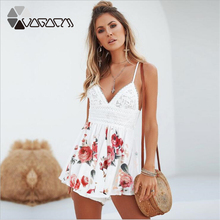 2019 Plus Size Summer Women Chiffon Floral Print Sling Deep V Neck Backless Bow Lace Stiching Party Beach Playsuit цена