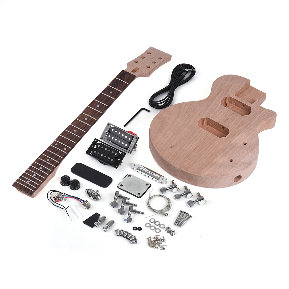 Muslady Children LP Style Unfinished Electric Guitar DIY Kit Mahogany Body Neck Rosewood Fingerboard Double Dual