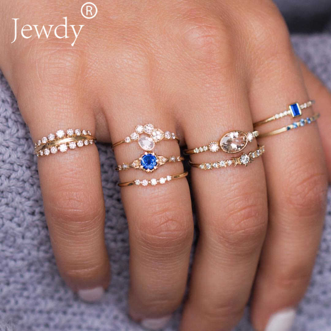 8 PCS/SET Blue White Crystal Rings Set for Women Bohemian Crown Carved Knuckle Rhinestone Midi Finger Ring anillos Jewelry 2019