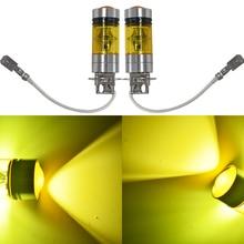 2 PCS H3 100W 2323 LED 4300K YELLOW Projector Fog Driving Light Bulbs