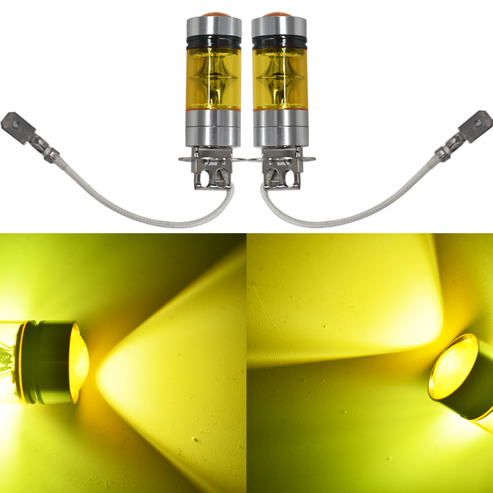 2 PCS <font><b>H3</b></font> <font><b>100W</b></font> 2323 <font><b>LED</b></font> 4300K YELLOW Projector Fog Driving Light Bulbs image