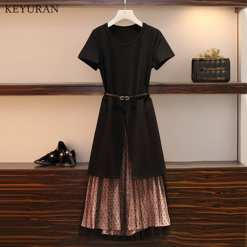 2019 Summer Women's Cotton Long T-shirt Split Dress + Mesh See Through Skirt 2 Piece Sets Woman Fashion Holes Belt Skirts Suits