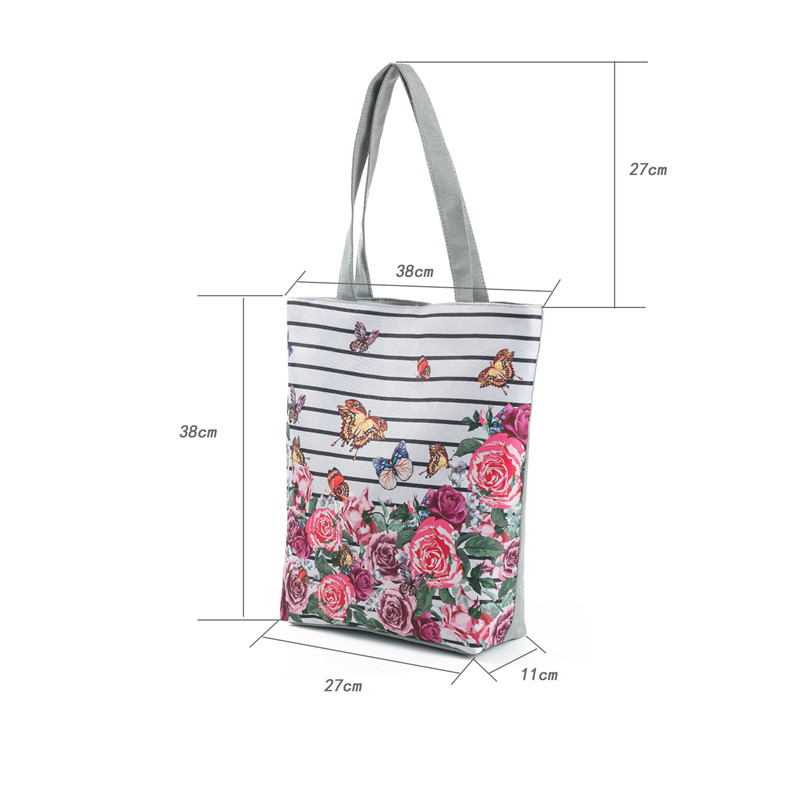 Miyahouse Colorful Flower Design Beach Bags Female Canvas Casual Tote Handbag Striped And Butterfly Print Shoulder Bag Bolsa 1