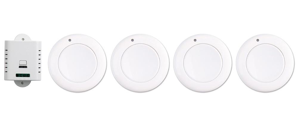ФОТО New AC85V 110V 120V 220V 250V 1CH Wireless Remote Control Switch System Receiver & 4*White wall Panel Sticky Remote