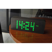 Voice Control LED Wooden Snooze Alarm Clock Table Clocks with Date Temperature Display for Bedside Home Decorative