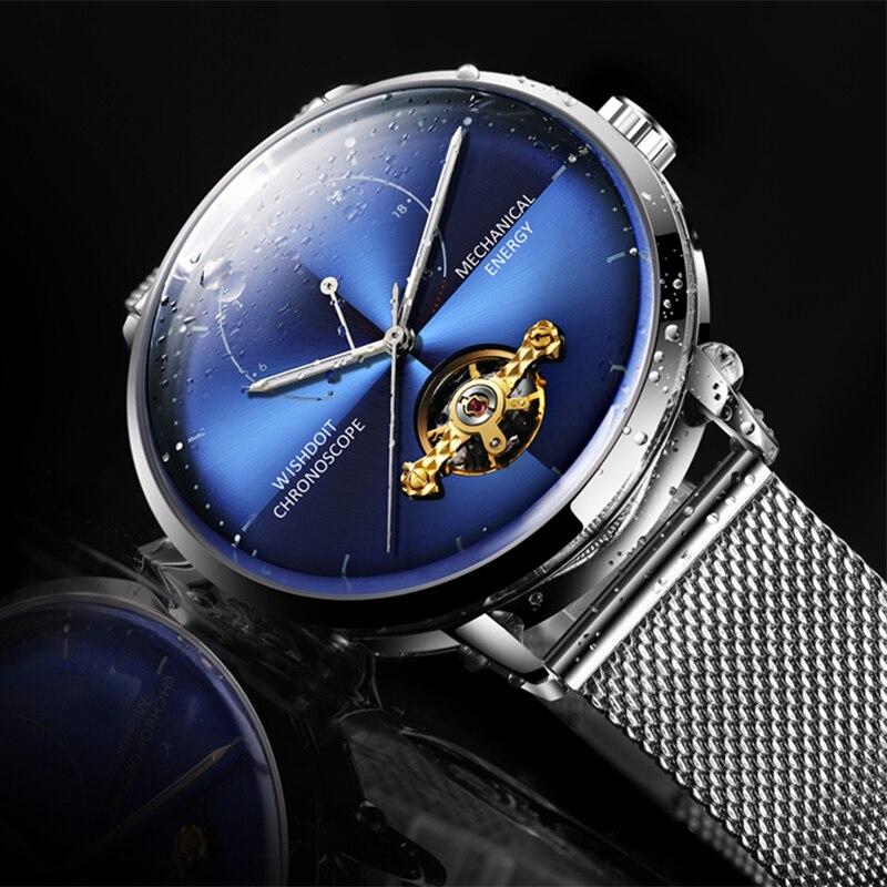 WISHDOIT montre hommes Top luxe Fashionwatch automatique mécanique montres à Quartz étanche en acier inoxydable Date entreprise horloge