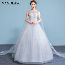 VAMOLASC Illusion O Neck Lace Appliques Ball Gown Wedding Dresses Elegant Sequined Tank Backless Bridal Gowns