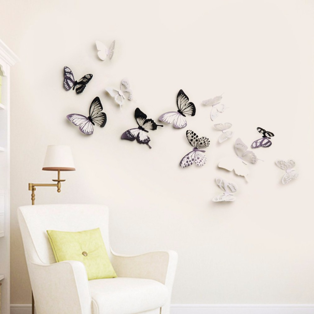8pcs/set Innovative 3D Multicolor Removable Butterfly Wall Stickers Art Decal PVC DIY Home Wall Decor 101/104 Drop Shipping