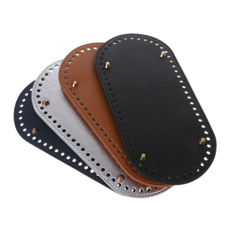 Bottom for Knitting Bag PU Leather Accessories Oval with Holes Diy Long 25x12cm KZBT008