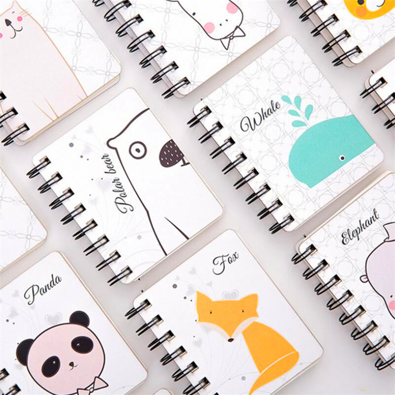 Cartoon Portable Mini Coil Notepad Hard Cover Student School Supplies Kid Gift