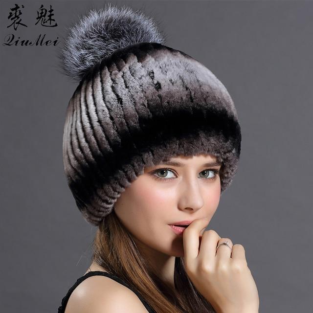 Hat For Women Real Rex Rabbit Hat Winter Real Fox Fur Pompom Hat Women s  Winter Caps Lady Winter Beanies Female Warm Headwear e982995329a