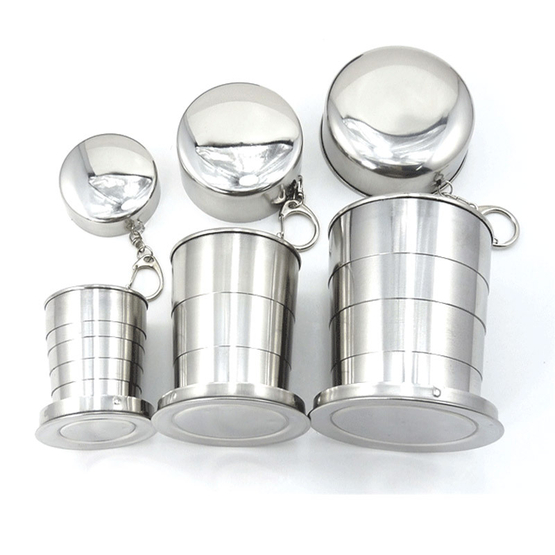 Mini Stainless Steel Portable Travel Folding Cup Telescopic Outdoor Folded Cups Collapsible Water Beer Cup
