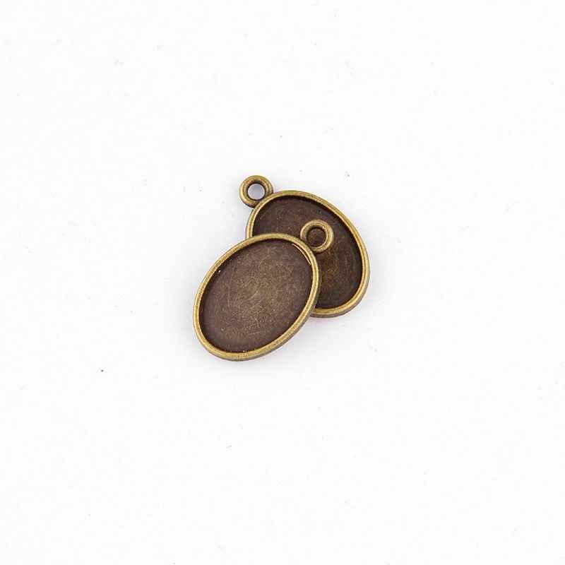 5 PCS/lot Antique Ganda Wajah Filigree Oval Putaran Cameo Cabochon Dasar Pengaturan Liontin Tray (Fit 13*18mm) DIY Perhiasan Kosong