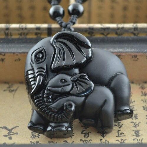 Мода прекрасный тайский слон ожерелье из натурального черный обсидиан резные свитер цепочка для роскошных женщин ювелирных изделий