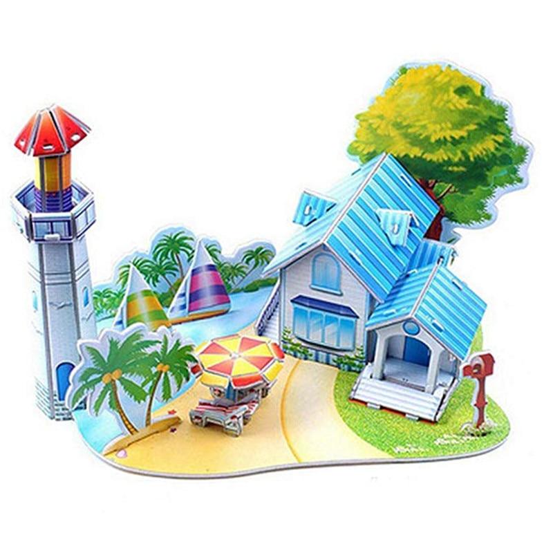 Бумага паззлами раннего обучения Строительная сборка детей украшения дома английские детские игры раннее образование игрушки - Цвет: YJL80925771E