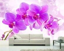 beibehang Custom photo wallpaper 3D HD purple Phalaenopsis living room bedroom sofa papier peint mural 3d