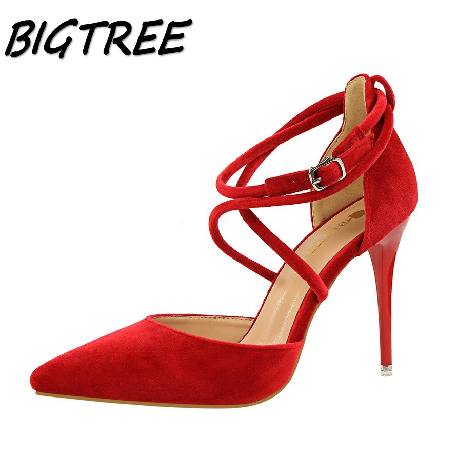 BIGTREE sexy summer women pointed toe High heel shoes woman Cross Strap Buckle shoes Fashion ladies Hollow out stilettos shoes xiaying smile woman sandals summer square cover heel closed toe woman pumps buckle strap fashion casual hollow flock women shoes